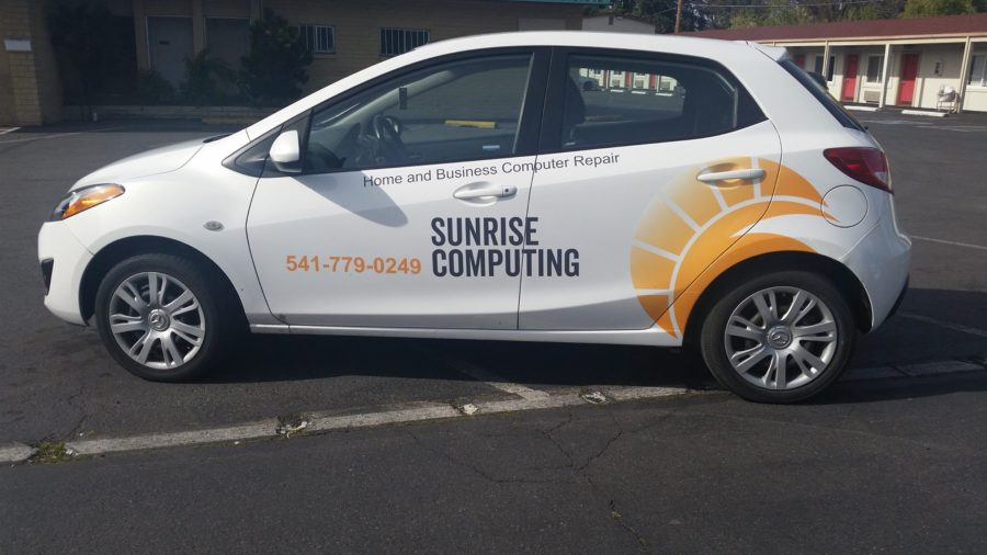 Sunrise Computing logo vehicle wrap, April 2017