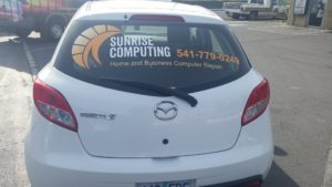 Sunrise Computing logo vehicle wrap, April 2017