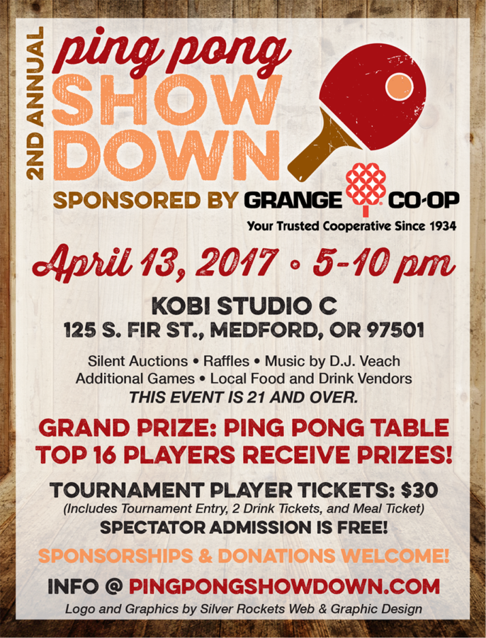 Ping Pong Showdown, quarter sheet flyers, April 2017
