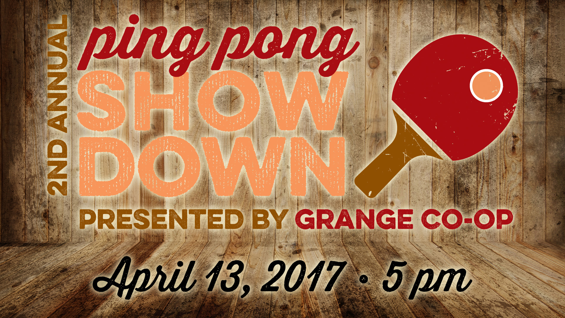 Ping Pong Showdown, Facebook event graphic design, March 2017