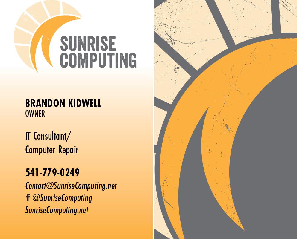 Sunrise Computing business card design, February 2017