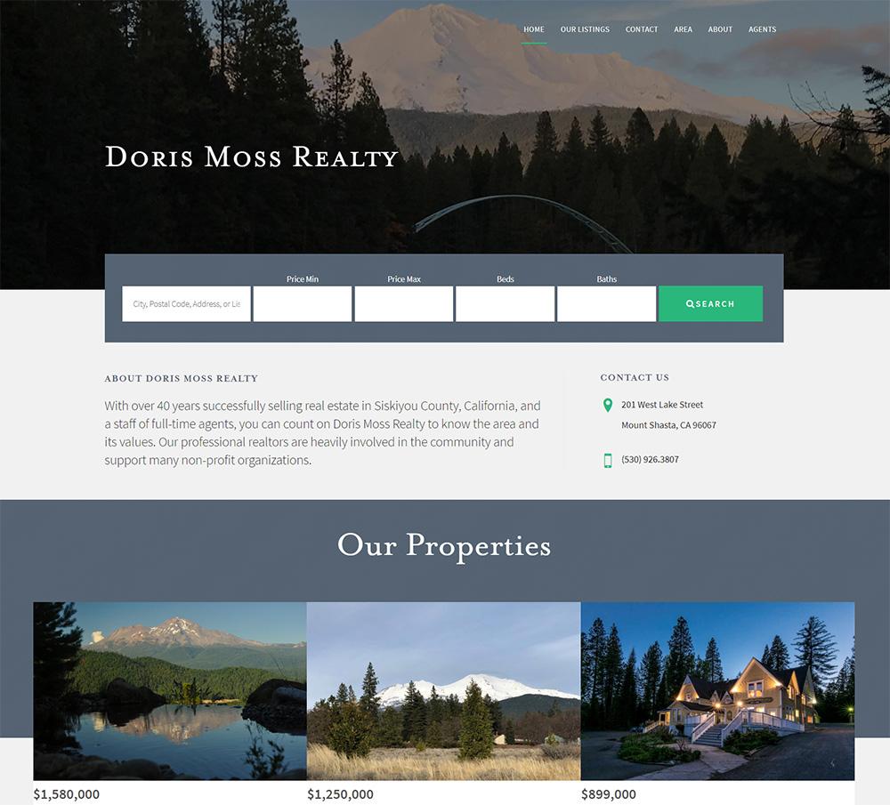 Doris Moss Realty mtshastarealty.com by silver rockets